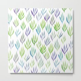 Watercolour Ferns | Purple and Green Metal Print