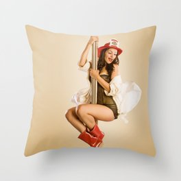 """Four-Alarm Flirt"" - The Playful Pinup - Firefighter Girl Pin-up by Maxwell H. Johnson Throw Pillow"