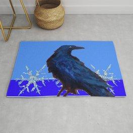 BLUE CROW WINTER SNOWFLAKE ART Rug