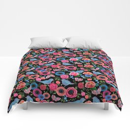 Mod floral bright & butterflies & birds Comforters