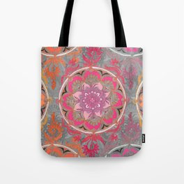 Hot Pink, Magenta and Orange Super Boho Medallions Tote Bag