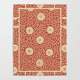 70's Red Floral Poster