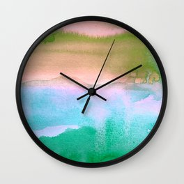 Tie-Dye Abstract Watercolor Painting, Blues, Greens, Pinks Wall Clock