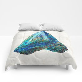 Blue Shark Tooth Art by Sharon Cummings Comforters