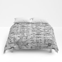F-18 Blueprints // Light Grey Comforters