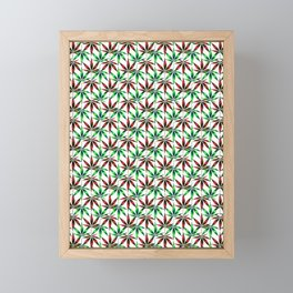 WEED LOVE, BURGUNDY RED GREEN Cannabis Smoke Marijuana Framed Mini Art Print