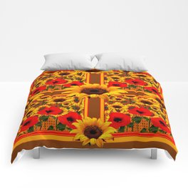 RED POPPIES YELLOW SUNFLOWERS BROWN PATTERN ART Comforters