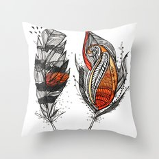 Sunset Feathers Throw Pillow