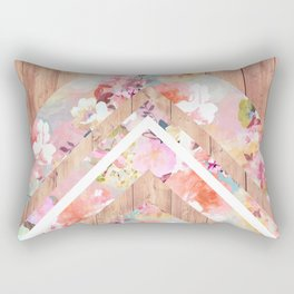 Vintage floral watercolor rustic brown wood geometric triangles Rectangular Pillow