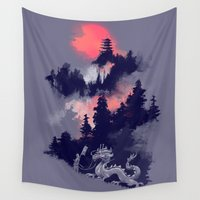 dragon Wall Tapestries featuring Samurai's life by Picomodi