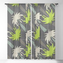 Retro palm tree decor Sheer Curtain