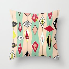 Mid Century Modern, Retro, Martini, Pink,Turquoise, Red Black Throw Pillow