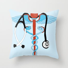 medical caduceus and stethoscope Throw Pillow