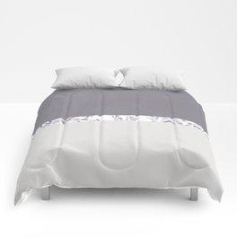 Mauve Gray Floral stripe pattern Comforters