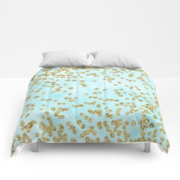 Sparkling gold glitter confetti on aqua ocean blue watercolor background - Luxury pattern Comforters
