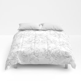 black and white line art flowers Comforters