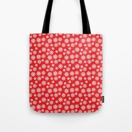 Christmas / Winter White Snowflakes Pattern Red Tote Bag