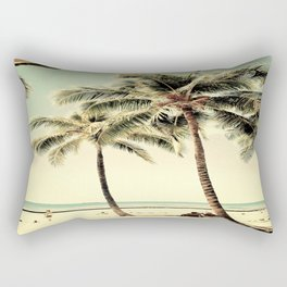 Retro Vintage Palm Tree with Hawaii Summer Sea Beach Rectangular Pillow