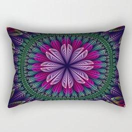 Summer mandala with fantasy flower and petals Rectangular Pillow