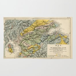 Scotch Coal Fields Vintage Map Rug
