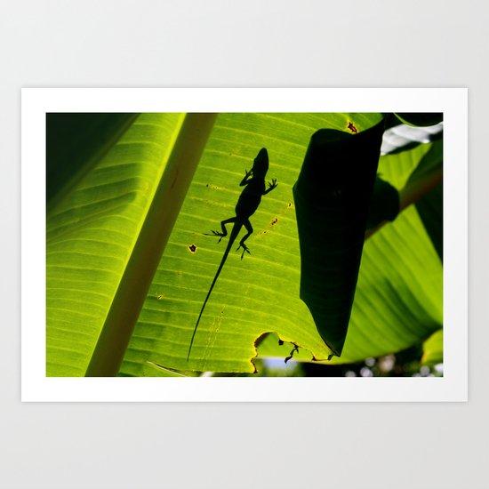 lizard on a leaf Art Print