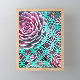 Purple Succulent Turquoise Geometric Framed Mini Art Print