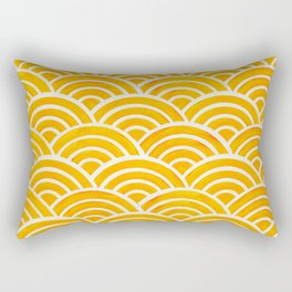 Japanese Seigaiha Wave – Marigold Palette Rectangular Pillow