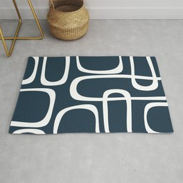 Midcentury Modern Retro Loops in White and Navy Blue Rug