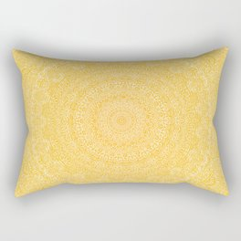 The Most Detailed Intricate Mandala (Mustard Yellow) Maze Zentangle Hand Drawn Popular Trending Rectangular Pillow
