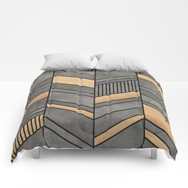 Abstract Chevron Pattern - Concrete and Wood Comforters