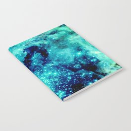GALAXY. Teal Aqua Stars Notebook