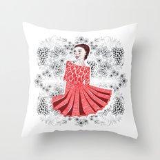 Red Dress Throw Pillow