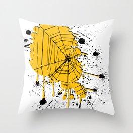 Spiderweb spiders ink splash Throw Pillow