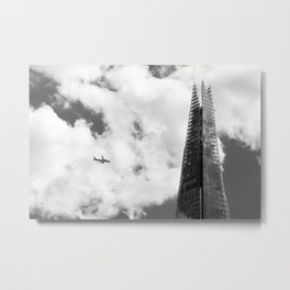 The Shard with an Airplane Metal Print