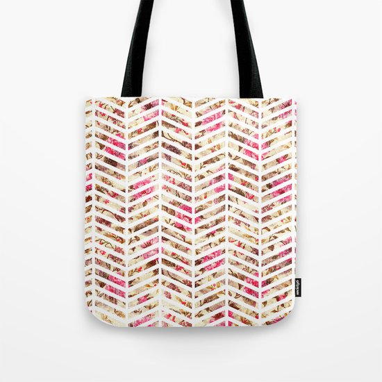 Pink Vintage Floral Girly Chevron Zig Zag Pattern Tote Bag