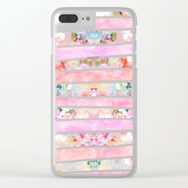 Modern floral watercolor girly pastel pink stripes Clear iPhone Case