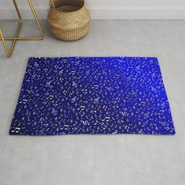 silver,gold,metall music notes in blue Rug