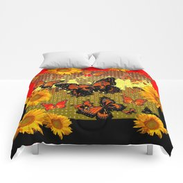 Two Color Abstracted Black-Red  & Orange Monarch Butterflies Comforters