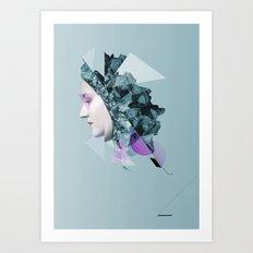 Faces Blue 04 Art Print