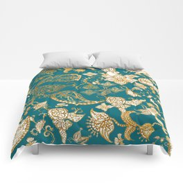 Golden Indian henna in green Comforters