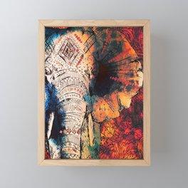 Indian Sketched Elephant Red Orange Framed Mini Art Print