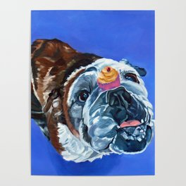 Millie the Bulldog and Her Cupcake Poster