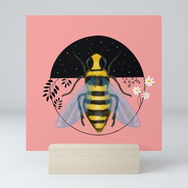 Bee Emblem on Pink Mini Art Print