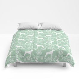 Doberman Pinscher floral silhouette mint and white minimal basic dog breed pattern art Comforters