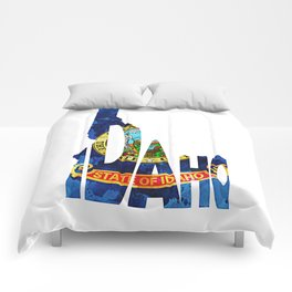 Idaho Typographic Flag Map Art Comforters