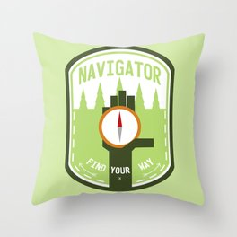 Navigator- Find Your Way - Color Throw Pillow