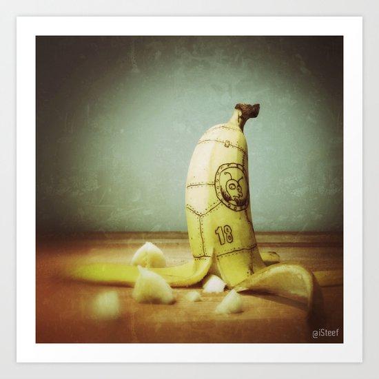 Moby's Little Idiot in a Banana Crash Art Print