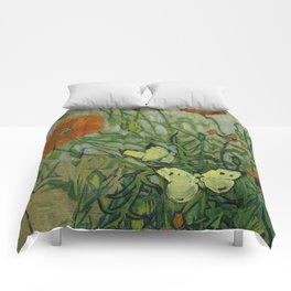 """Vincent Van Gogh """"Butterflies and Poppies"""" Comforters"""