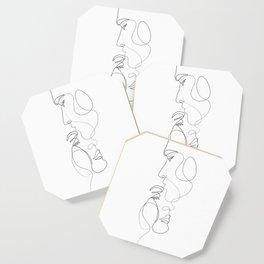 Lovers - Minimal Line Drawing Art Print 2 Coaster