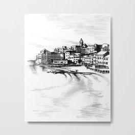 European Sea Village Metal Print